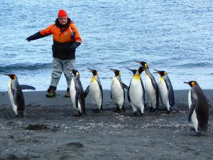 Captain Burton with penguins