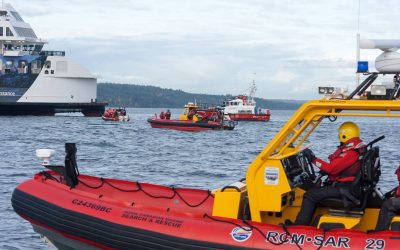 RCMSAR Crews Respond to Simulated Ferry Fire in Exercise Salish Sea 2017
